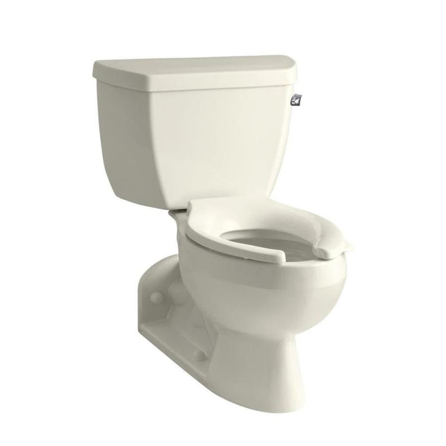 KOHLER Barrington Biscuit 1.6-GPF (6.06-LPF) 4 Rough-In Elongated Pressure Assist 2-Piece Chair Height Toilet