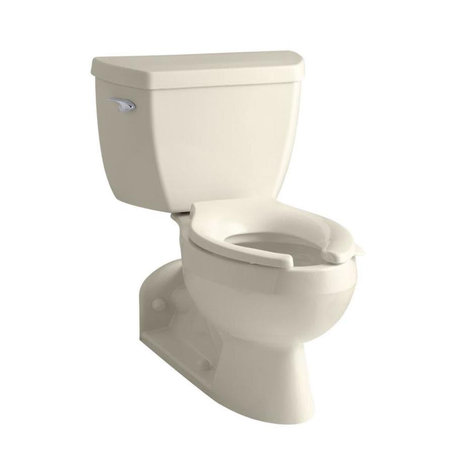KOHLER Barrington Almond 1.6-GPF (6.06-LPF) 4 Rough-In Elongated Pressure Assist 2-Piece Chair Height Toilet