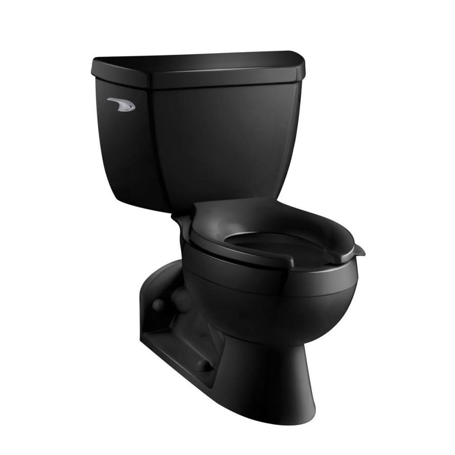 KOHLER Barrington 1.6 Black Black Elongated Standard Height 2-Piece Toilet