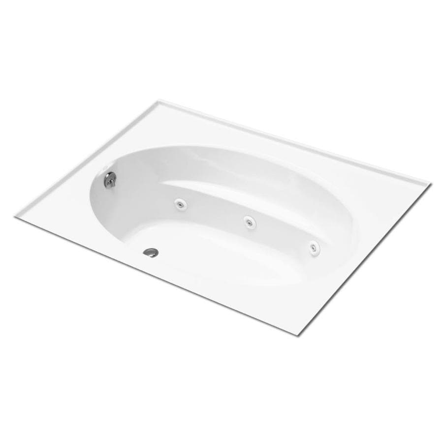 KOHLER Windward 60-in White Acrylic Alcove Whirlpool Tub with Left-Hand Drain