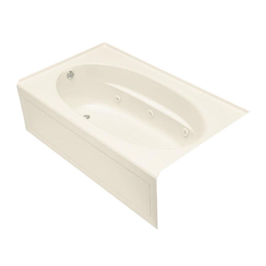 KOHLER Windward 60-in Almond Acrylic Alcove Whirlpool Tub with Left-Hand Drain