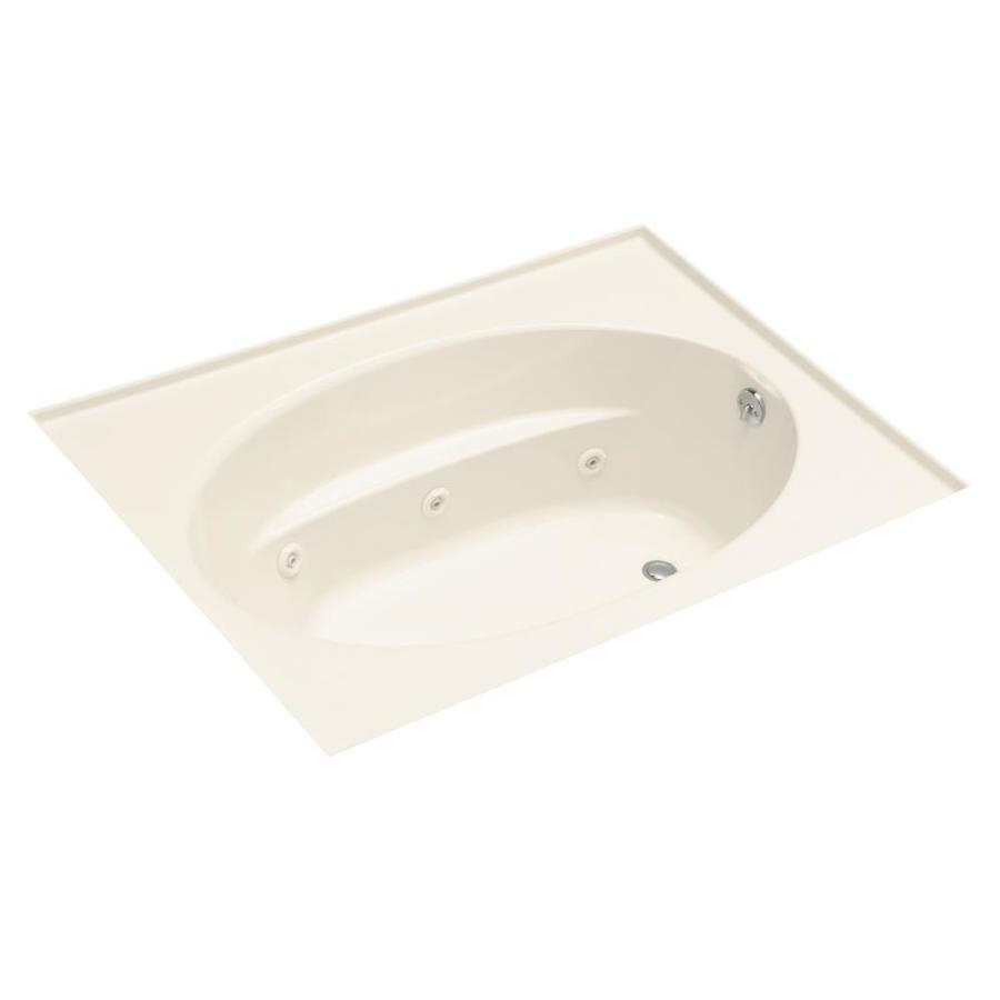 KOHLER Windward 60-in Almond Acrylic Drop-In Whirlpool Tub with Reversible Drain
