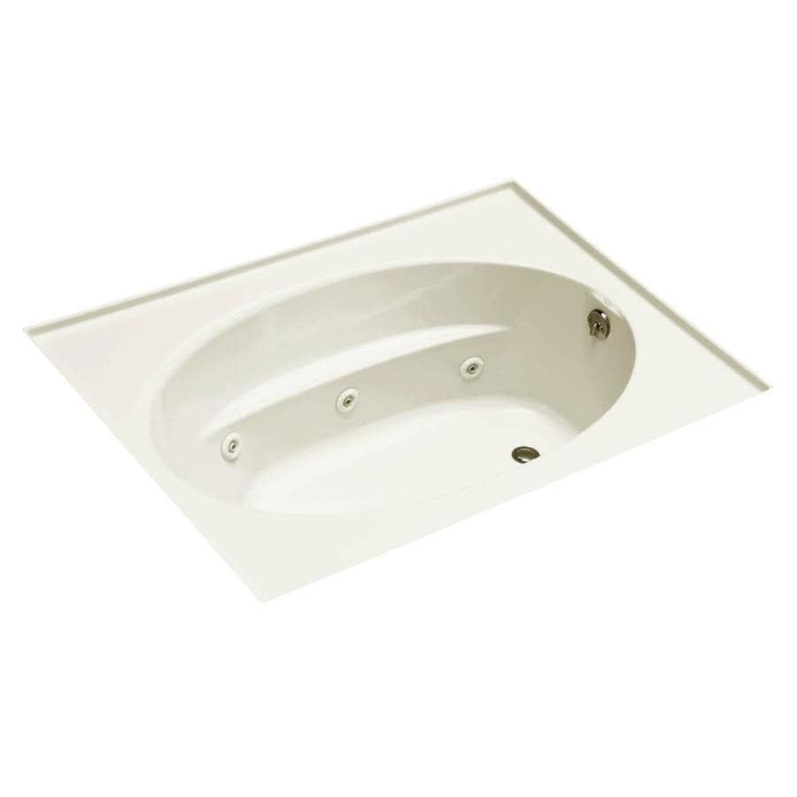 KOHLER Windward 60-in Biscuit Acrylic Drop-In Whirlpool Tub with Reversible Drain