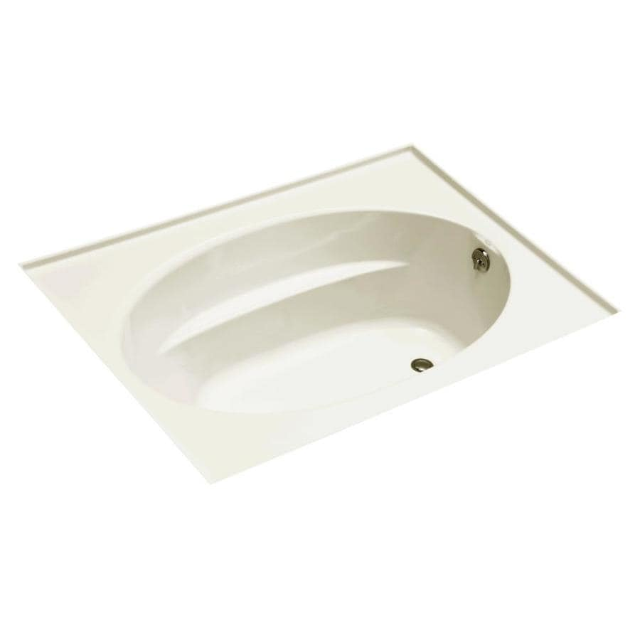 KOHLER Windward Biscuit Acrylic Oval In Rectangle Drop-in Bathtub with Left-Hand Drain (Common: 42-in x 60-in; Actual: 21.0000-in x 42.0000-in x 60.0000-in)