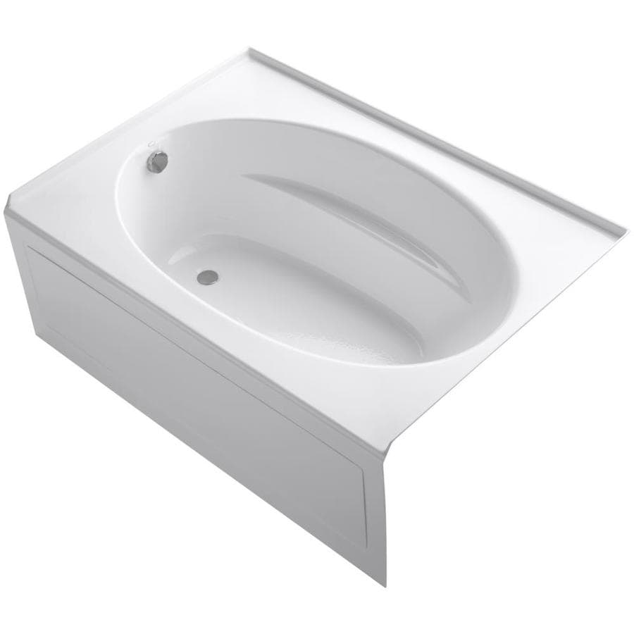 Shop kohler windward 60 in white acrylic alcove bathtub for Deep soaking tub alcove