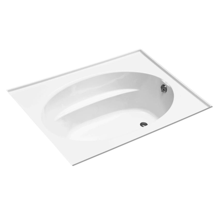 KOHLER Windward 72-in White Acrylic Drop-In Bathtub with Reversible Drain
