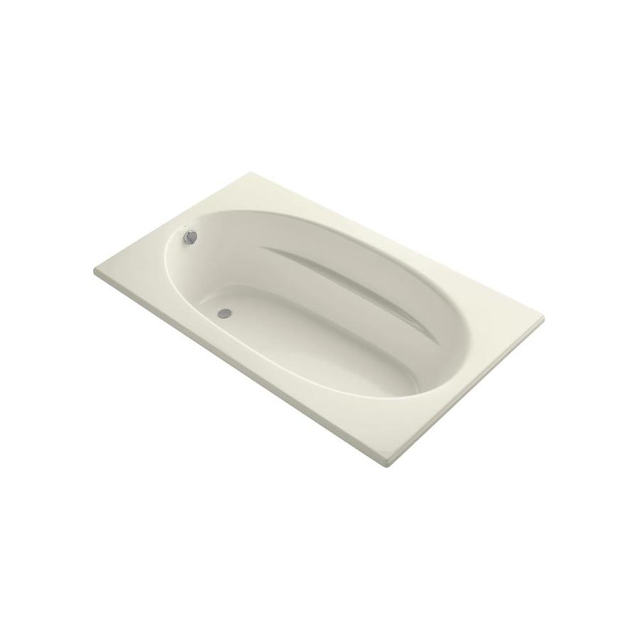 KOHLER Windward Biscuit Acrylic Oval In Rectangle Drop-in Bathtub with Reversible Drain (Common: 42-in x 72-in; Actual: 21.0000-in x 42.0000-in x 72.0000-in)