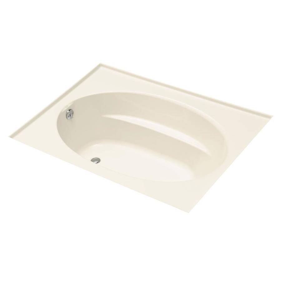 KOHLER Windward Almond Acrylic Oval In Rectangle Alcove Bathtub with Left-Hand Drain (Common: 42-in x 72-in; Actual: 21-in x 42-in x 72-in)