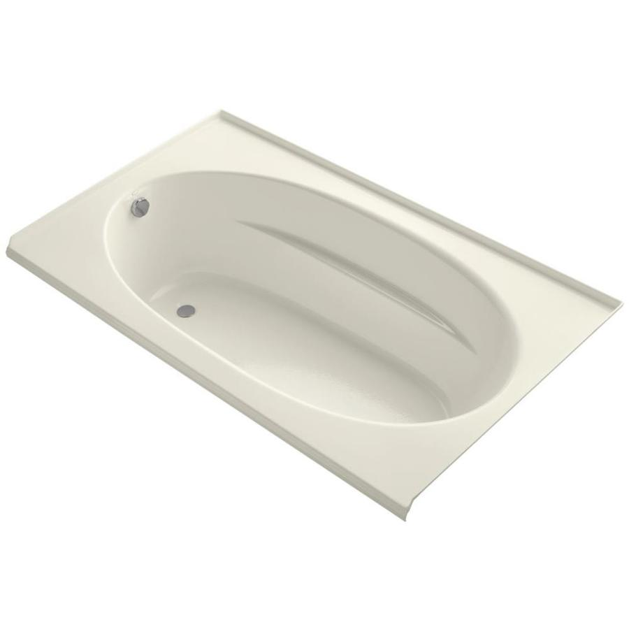 KOHLER Windward Biscuit Acrylic Oval In Rectangle Alcove Bathtub with Left-Hand Drain (Common: 42-in x 72-in; Actual: 22.25-in x 42-in x 72-in)