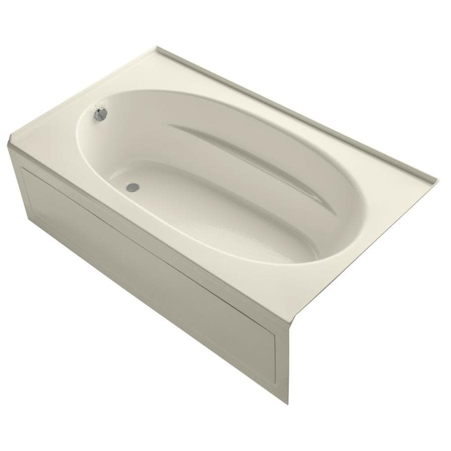 KOHLER Windward 72-in Almond Acrylic Alcove Bathtub with Left-Hand Drain