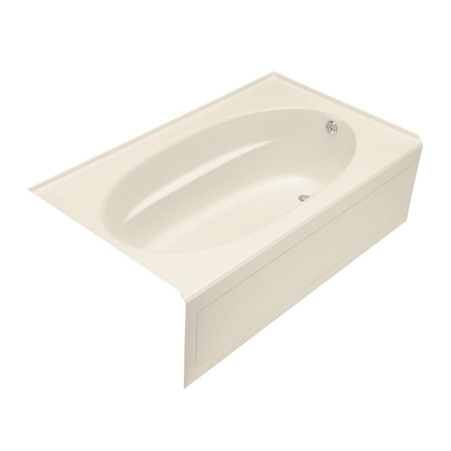 KOHLER Windward Almond Acrylic Oval In Rectangle Skirted Bathtub with Right-Hand Drain (Common: 42-in x 72-in; Actual: 22.25-in x 42-in x 72-in)