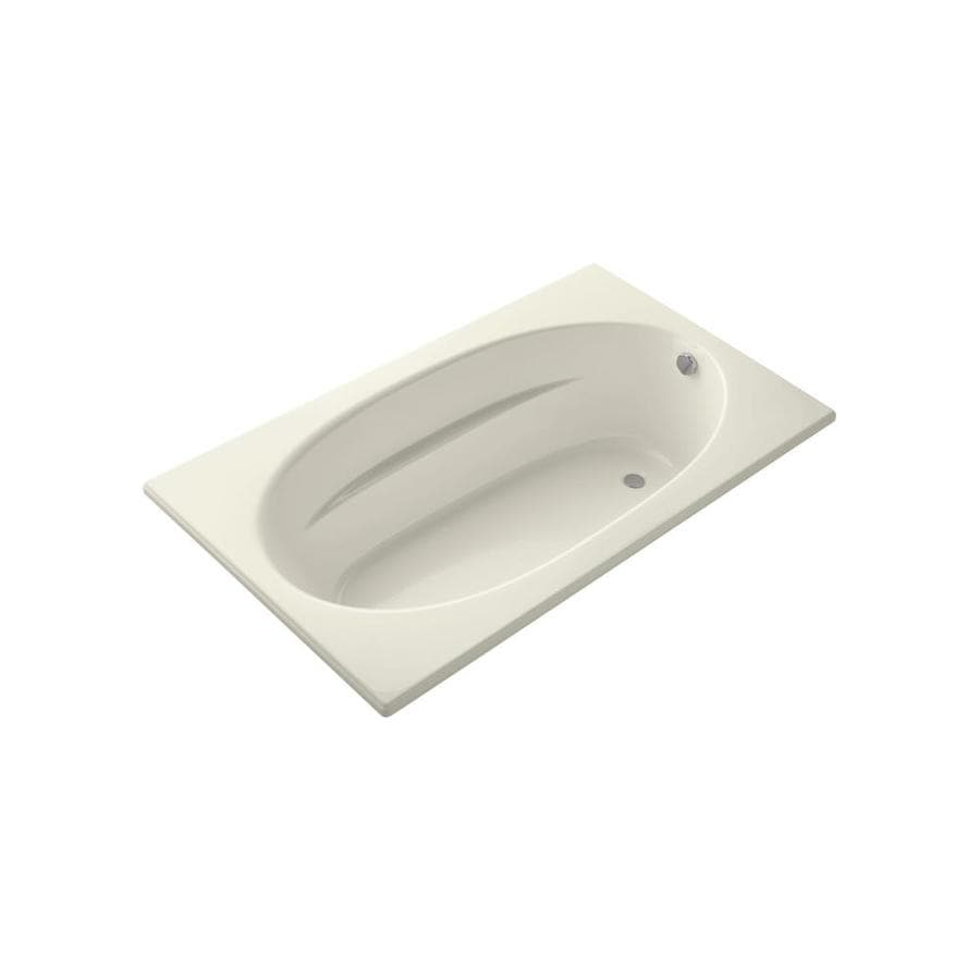 KOHLER Windward Biscuit Acrylic Oval In Rectangle Drop-in Bathtub with Reversible Drain (Common: 42-in x 72-in; Actual: 21-in x 42-in x 72-in)