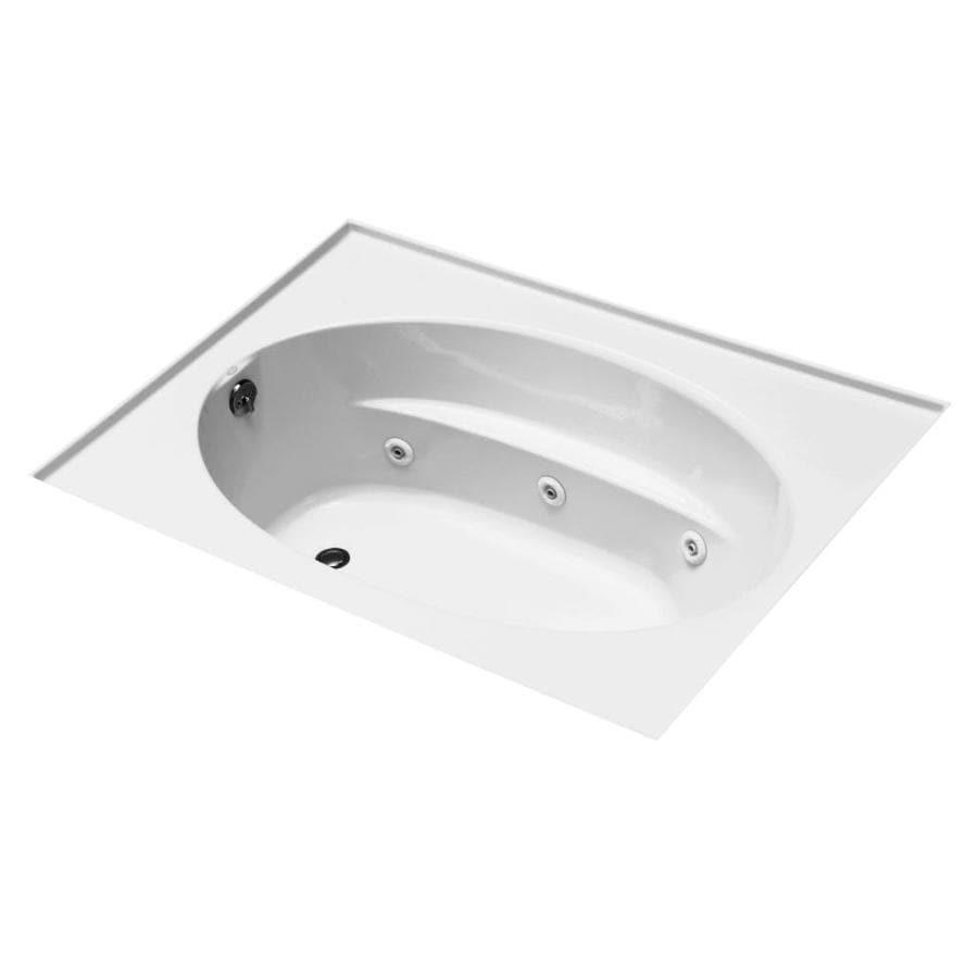 KOHLER Windward 72-in White Acrylic Alcove Whirlpool Tub with Left-Hand Drain