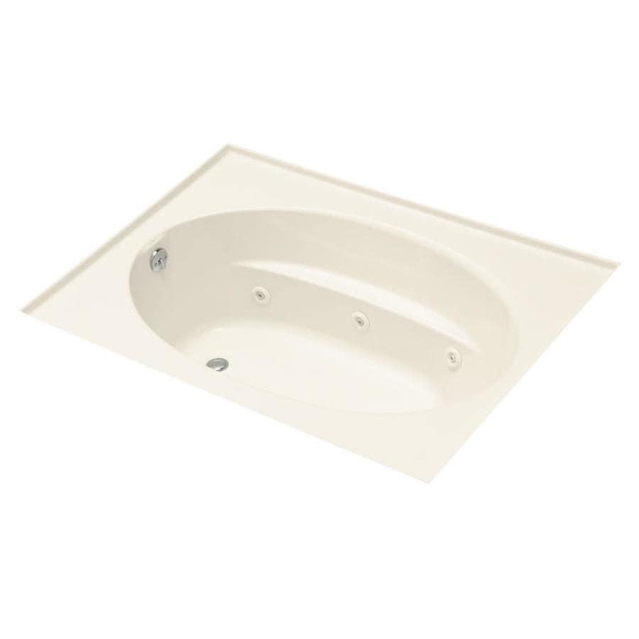 KOHLER Windward 72-in Almond Acrylic Alcove Whirlpool Tub with Left-Hand Drain