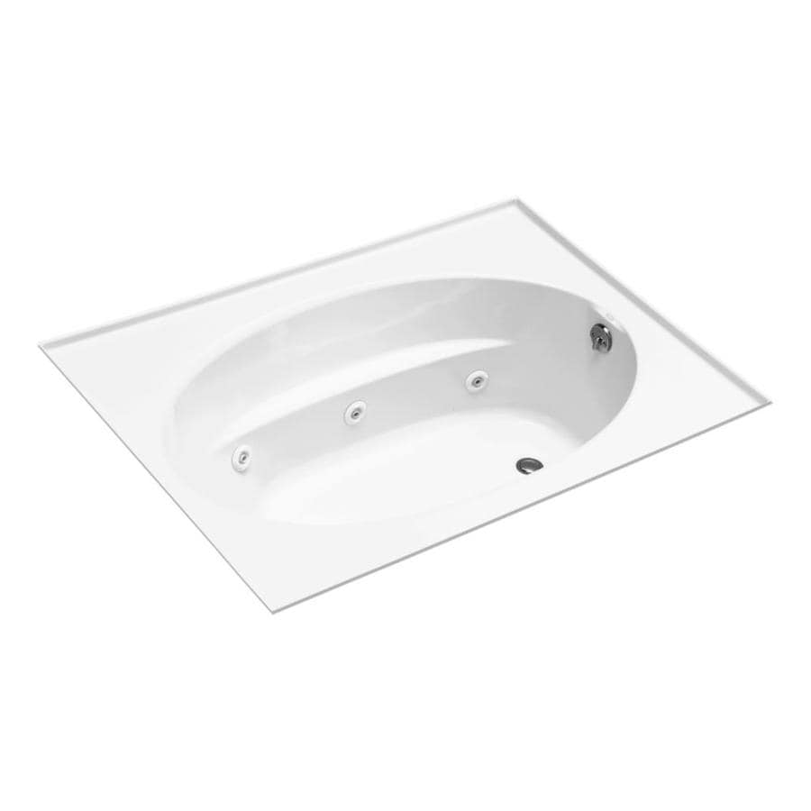 KOHLER White Acrylic Rectangular Whirlpool Tub (Common: 42-in x 72-in; Actual: 21-in x 42-in)