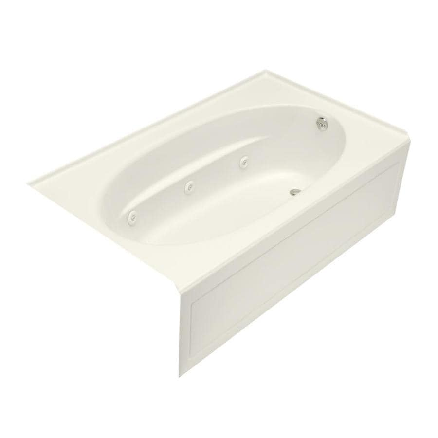 KOHLER Windward 72-in Biscuit Acrylic Alcove Whirlpool Tub with Right-Hand Drain