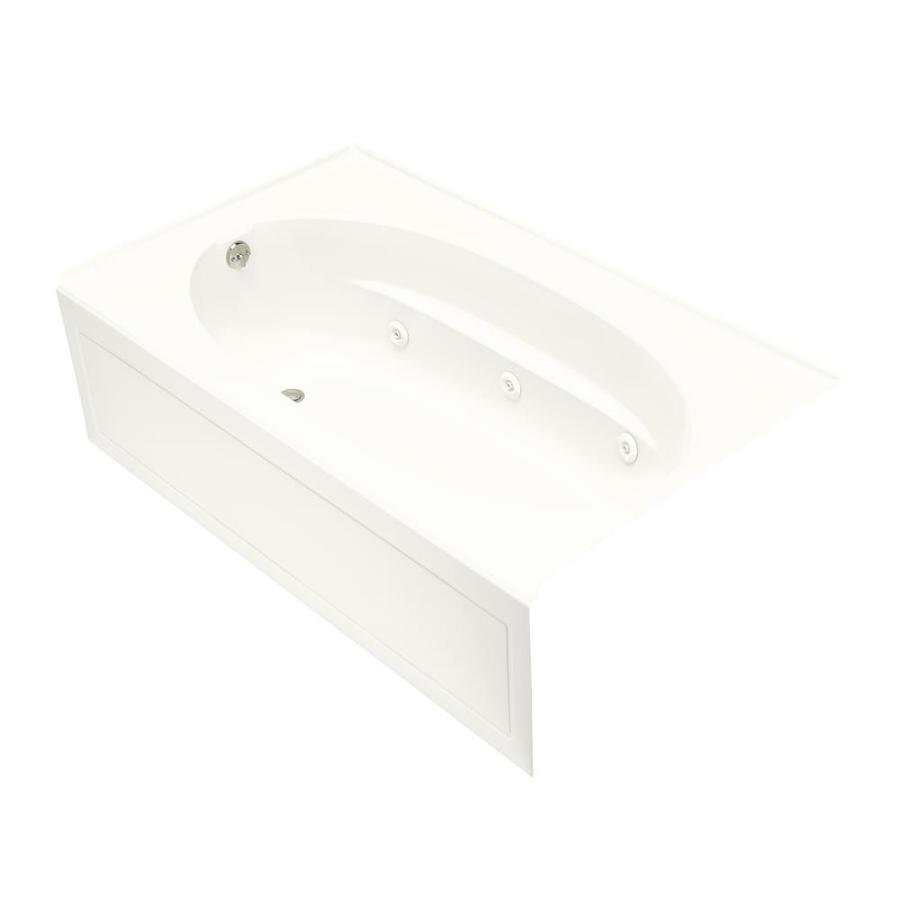 KOHLER Windward 72-in White Acrylic Alcove Whirlpool Tub with Left-Hand Drain