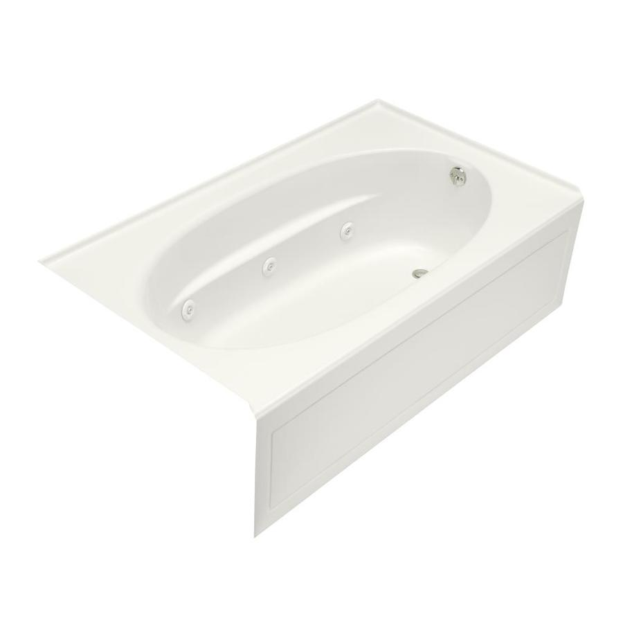 KOHLER Windward 72-in White Acrylic Alcove Whirlpool Tub with Right-Hand Drain