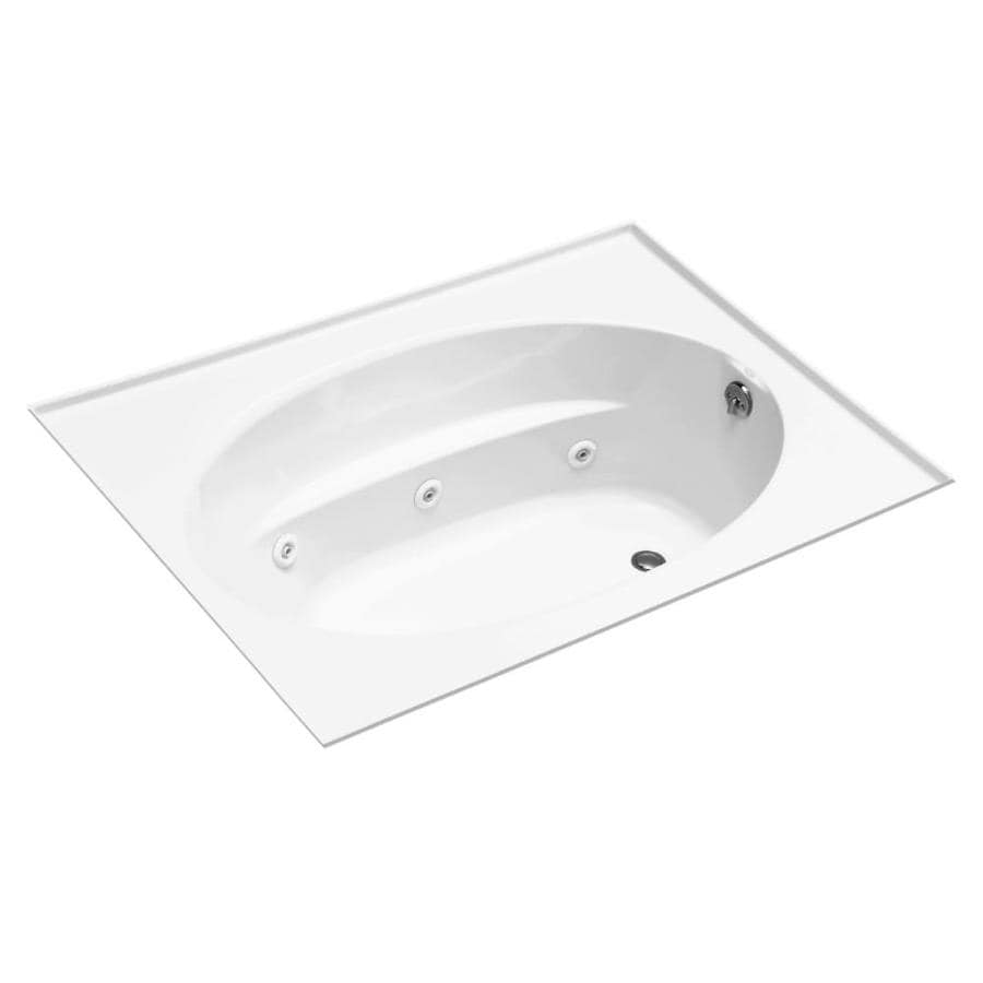 KOHLER Windward 72-in White Acrylic Drop-In Whirlpool Tub with Reversible Drain