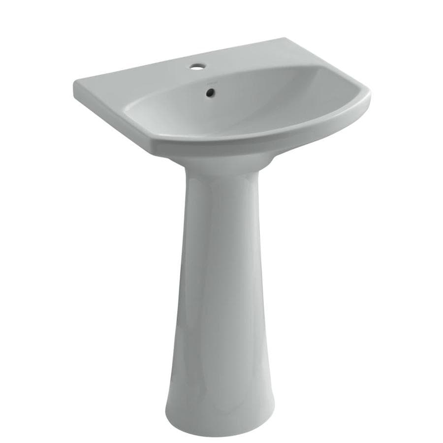 Shop KOHLER Cimarron 34.5-in H Ice Grey Vitreous China Pedestal Sink ...