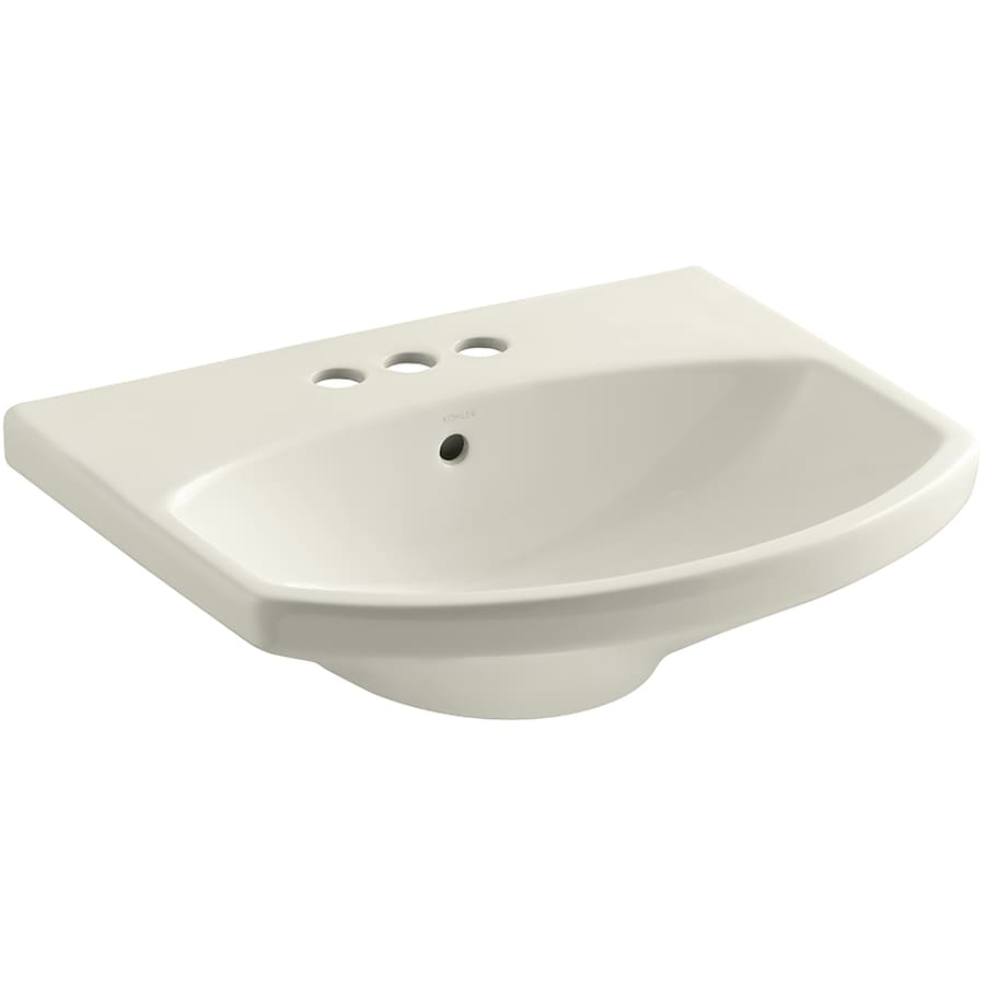 KOHLER Cimarron 22.75-in L x 18.875-in W Biscuit Vitreous China Oval Pedestal Sink Top