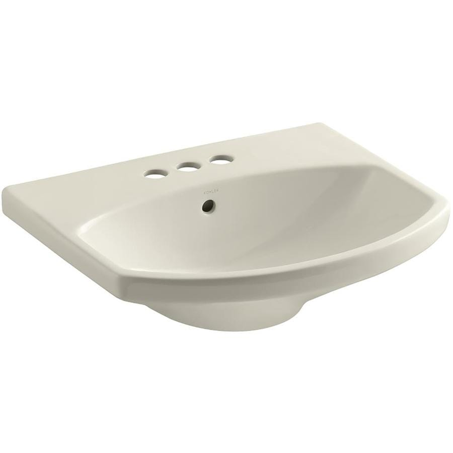 KOHLER Cimarron 22.75-in L x 18.875-in W Almond Vitreous China Oval Pedestal Sink Top