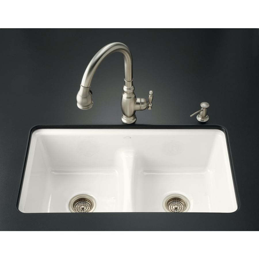 Shop Kohler Deerfield 22 In X 33 In White Double Basin Cast Iron Undermount Commercial