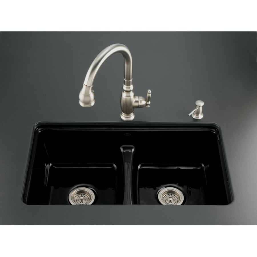 Shop KOHLER Black Black 7-Hole Double-Basin Cast Iron Undermount ...