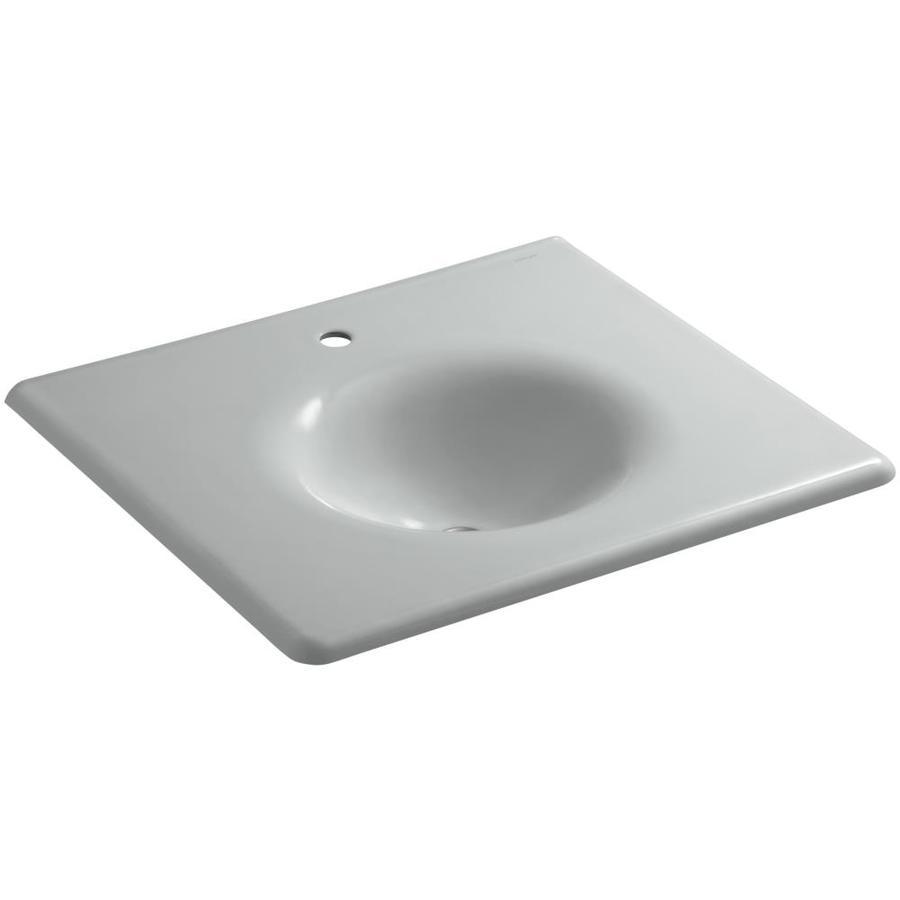 KOHLER Impressions Ice Grey Cast Iron Oval Bathroom Sink