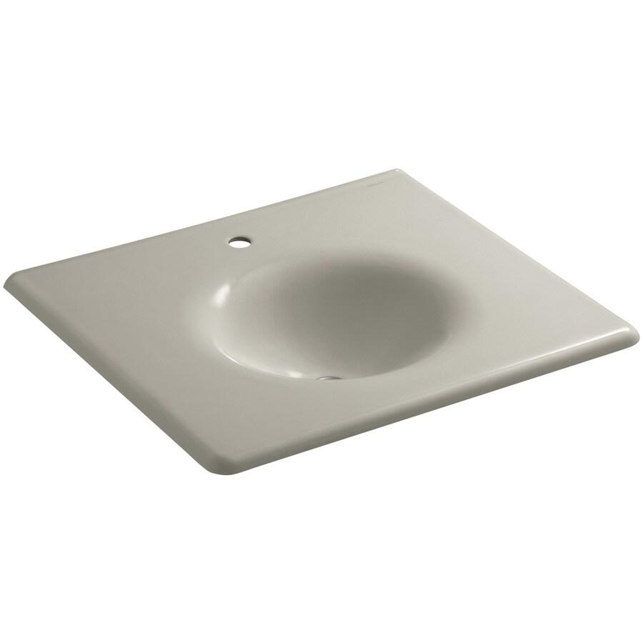 KOHLER Impressions Sandbar Cast Iron Oval Bathroom Sink