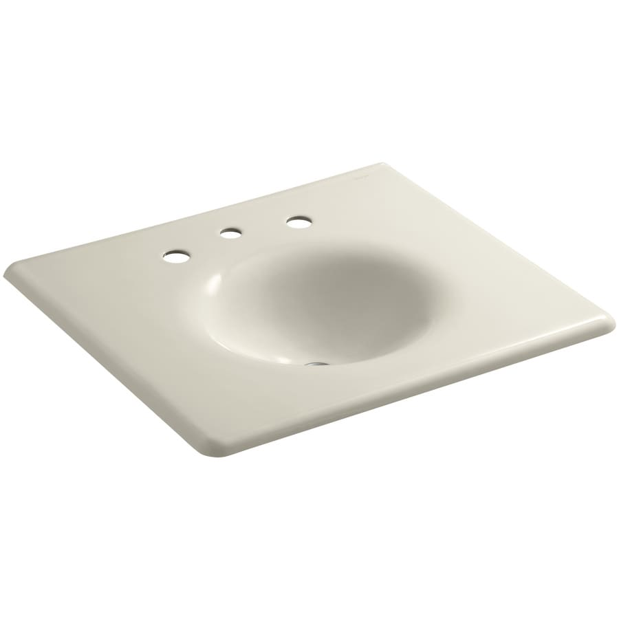 KOHLER Impressions Almond Cast Iron Oval Bathroom Sink