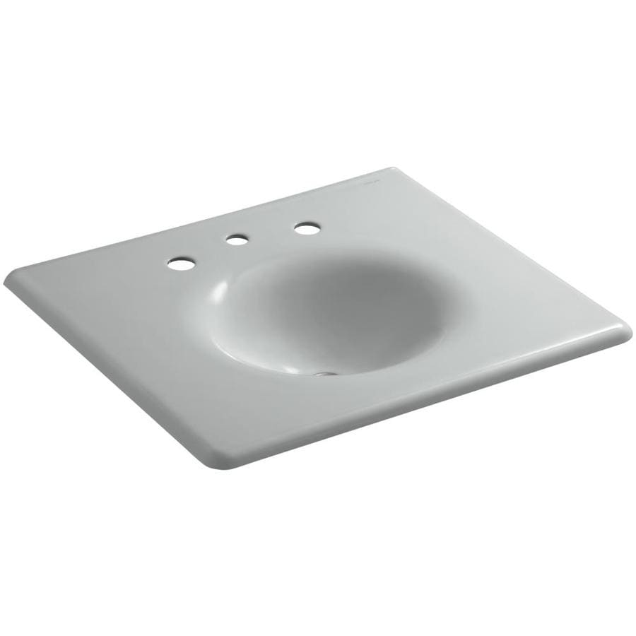 KOHLER Impressions Ice Grey Cast Iron Oval Bathroom Sink