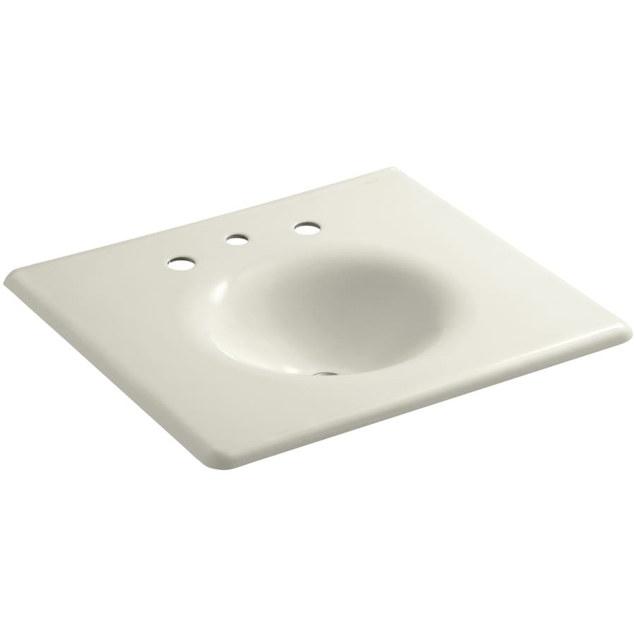 KOHLER Impressions Biscuit Cast Iron Oval Bathroom Sink