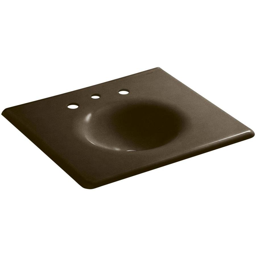 Shop kohler impressions black 39 n tan cast iron oval bathroom sink at - Cast iron sink weight ...