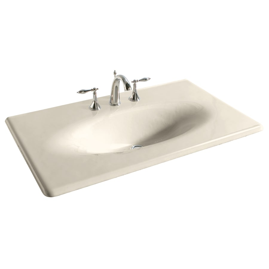 Shop Kohler Impressions Almond Cast Iron Drop In Oval Bathroom Sink At