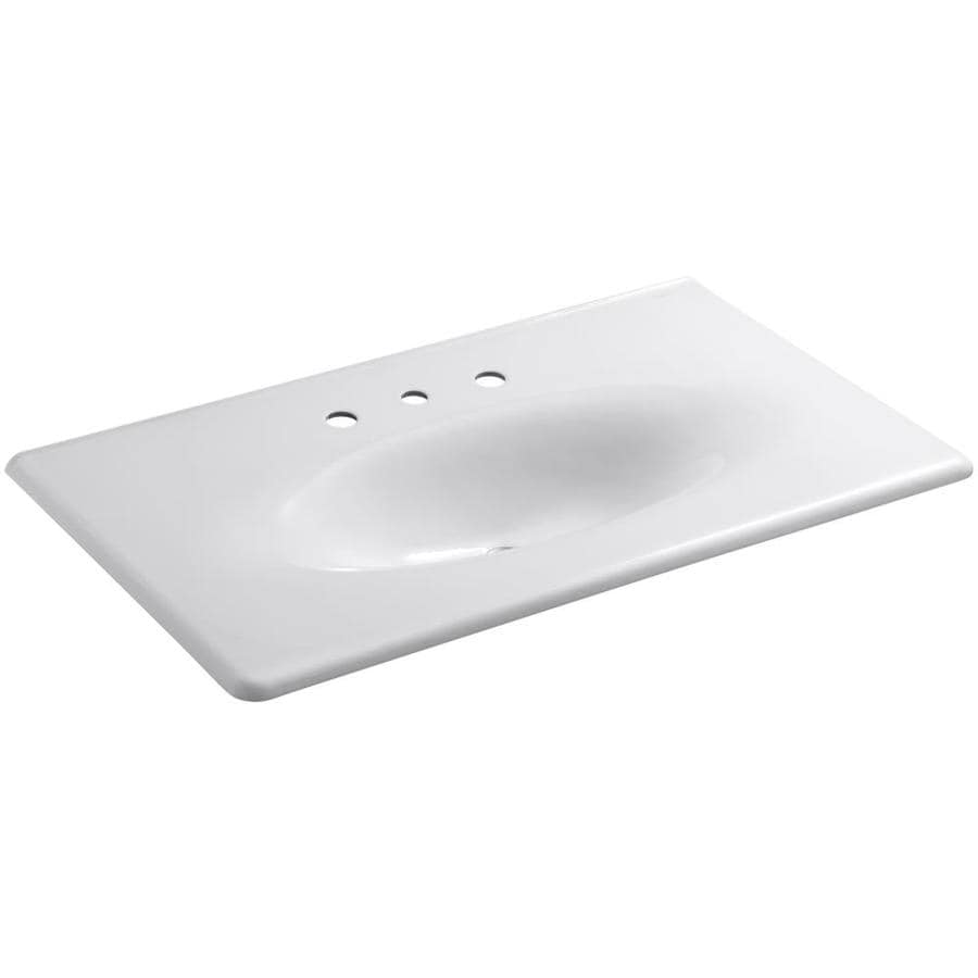 Shop kohler impressions white cast iron drop in oval bathroom sink at - Cast iron sink weight ...