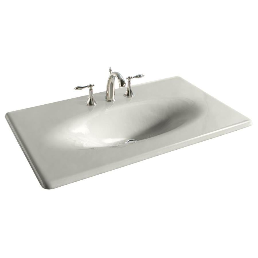 KOHLER Impressions Ice Grey Cast Iron Drop-in Oval Bathroom Sink
