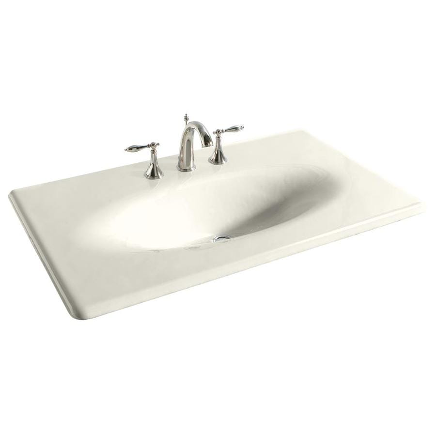 Shop Kohler Impressions Biscuit Cast Iron Drop In Oval Bathroom Sink At