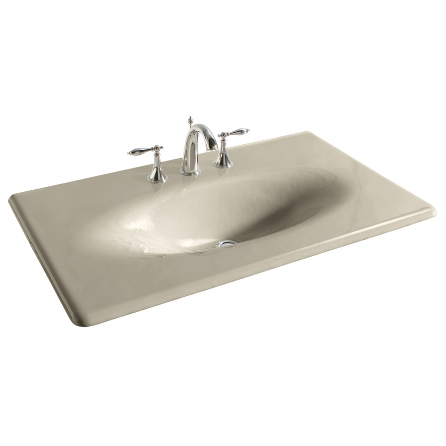 Shop kohler impressions sandbar cast iron drop in oval bathroom sink at - Cast iron sink weight ...