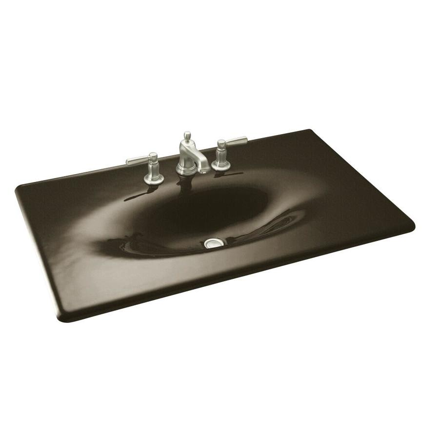 KOHLER Impressions Black and Tan Cast Iron Drop-in Oval Bathroom Sink
