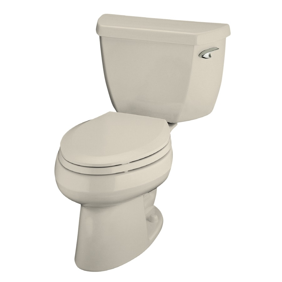 KOHLER Wellworth Almond WaterSense Labeled  Elongated Standard Height 2-piece Toilet 12-in Rough-In Size