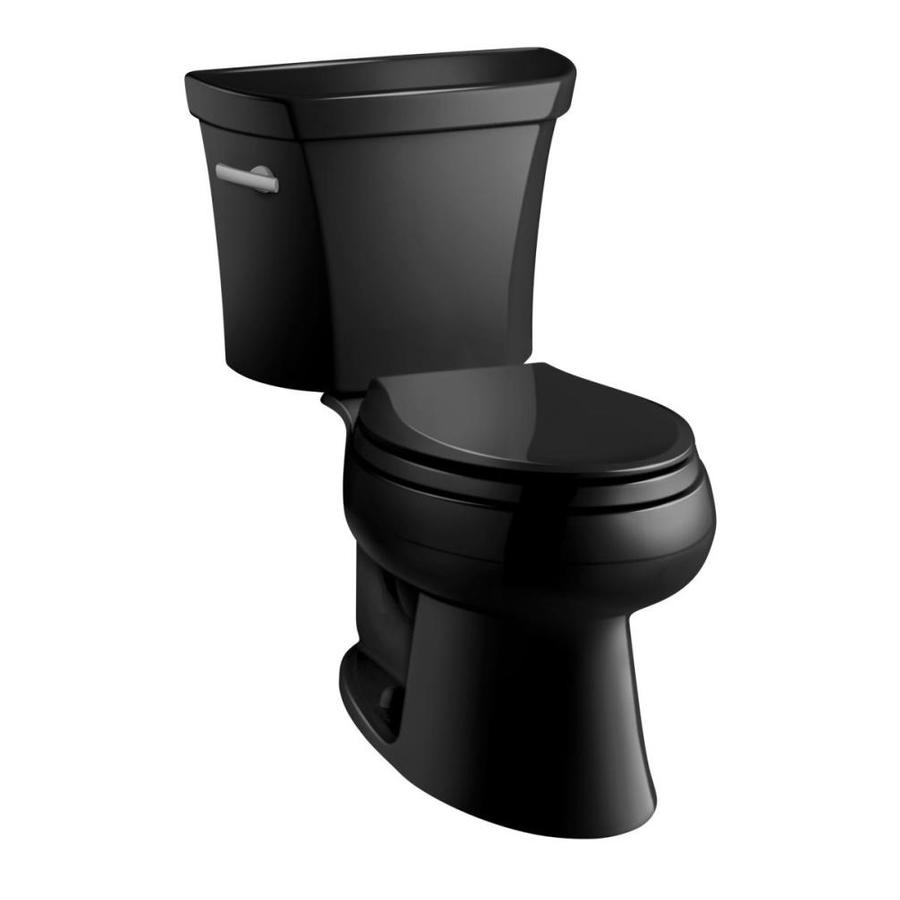 KOHLER Wellworth 1-GPF (3.79-LPF) Black Black Elongated 2-piece Toilet