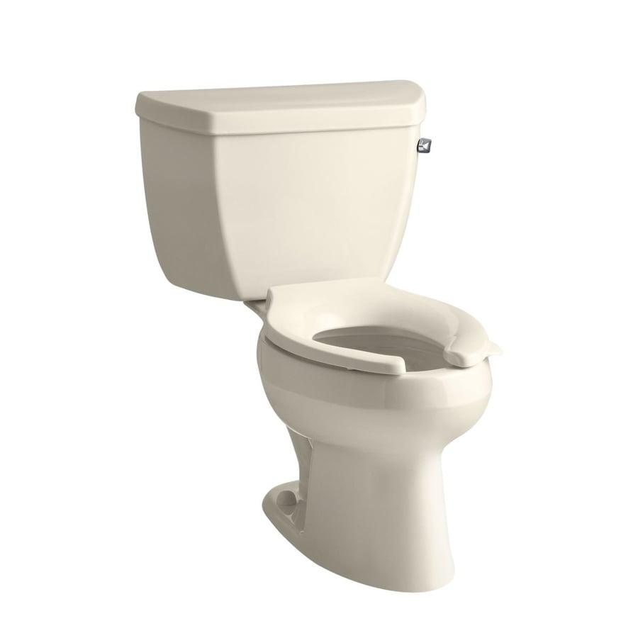 KOHLER Wellworth 1-GPF Almond WaterSense Elongated Standard Height 2-Piece Toilet