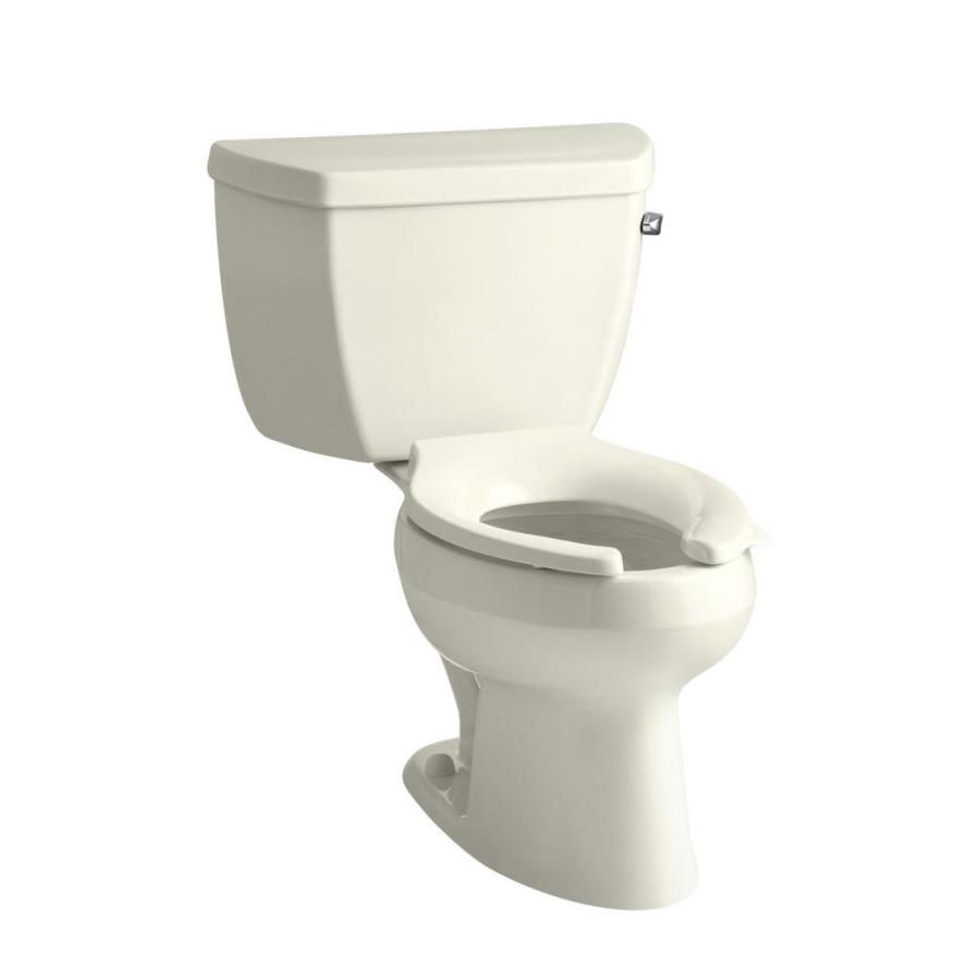 KOHLER Wellworth Biscuit 1.0-GPF (3.79-LPF) 12 Rough-In WaterSense Elongated Pressure Assist 2-Piece Chair Height Toilet