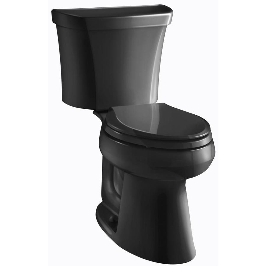 KOHLER Highline Black Black WaterSense Labeled  Elongated Chair Height 2-piece Toilet 12-in Rough-In Size