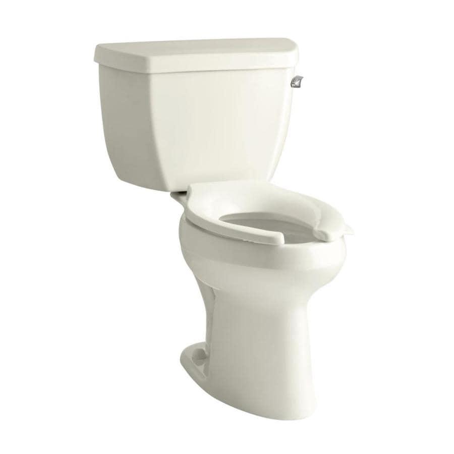 KOHLER Higline Biscuit 1.0-GPF (3.79-LPF) 12 Rough-In WaterSense Elongated Pressure Assist 2-Piece Standard Height Toilet