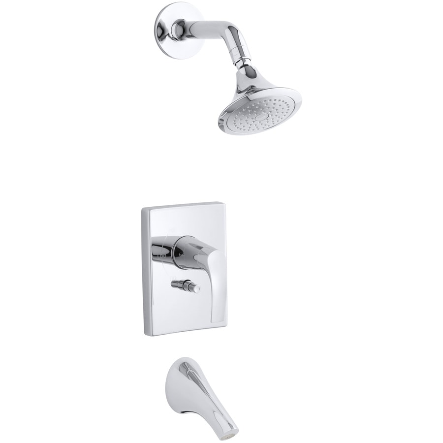 KOHLER Symbol Polished Chrome 1-Handle Bathtub and Shower Faucet Trim Kit with Single Function Showerhead