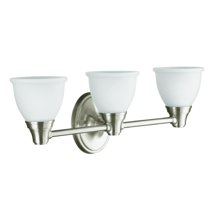 KOHLER Forte 23-in W 3-Light Vibrant Brushed Nickel Arm Wall Sconce