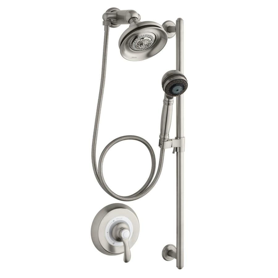 KOHLER Fairfax 6.5-in Vibrant Brushed Nickel Showerhead with Hand Shower