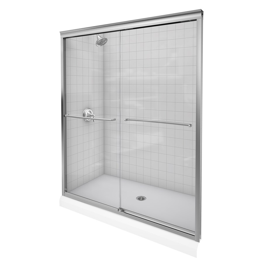 KOHLER Fluence 56-in to 59-in W x 70-in H Brushed Nickel Sliding Shower Door